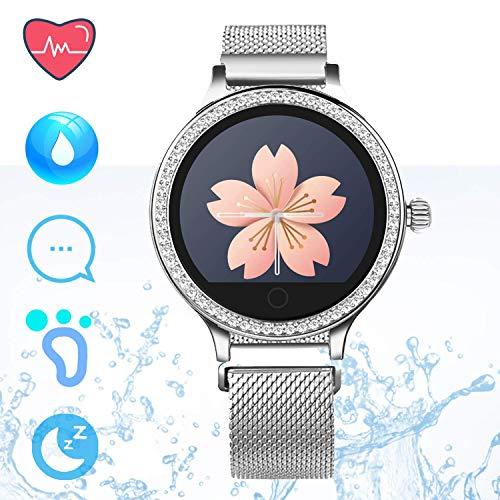 IP68 Fitness Tracker Smart Watch - Schrittzähler Uhr Smart Armband mit Herzfrequenz Schlaf Tracker Kalorienzähler Smartwatches für Frauen Anruf SMS Push Kompatibel für Android iOS (Silber)