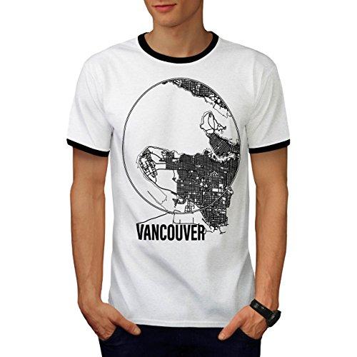 Kanada Groß Vancouver Stadt Karte Herren M Ringer T-shirt | Wellcoda