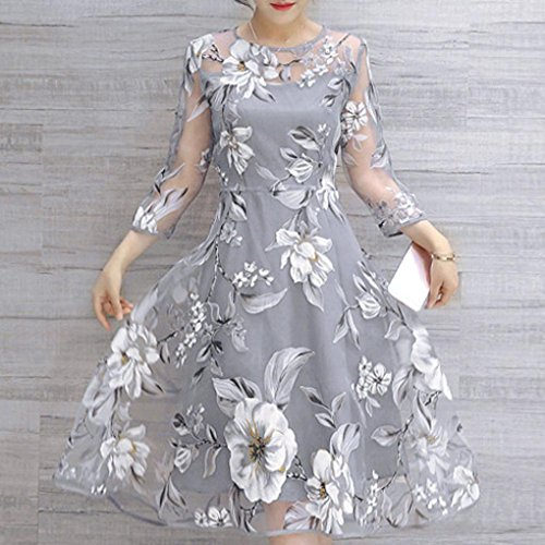 DIKEWANG Ladies Organza Floral Print Dress, Chic Sexy Women's Summer Long Sleeve Wedding Party Ball Prom Gown Cocktail Dresses
