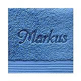 KringsFashion Handtuch mit Namen nach Wunsch bestickt, 50 x 100 cm, Fjord/Blau, Farbe Name Blau, Qualität von deutschen Herstellern, schwere Premium-Qualität 550 g/qm, 100% Baumwolle