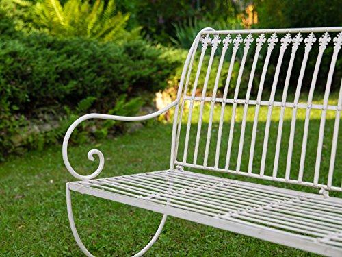 Nostalgie Gartenbank Lilie fleur de lis Eisen Antik-Stil creme weiss iron garden - 5