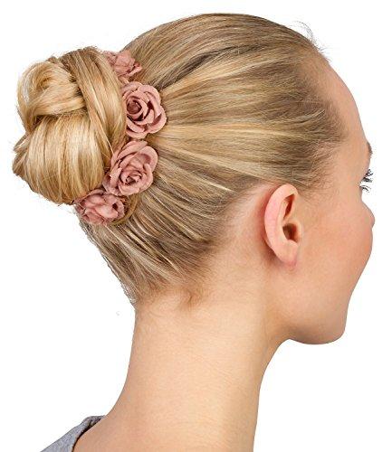 SIX Haargummi: Haarschmuck mit Rosen aus Stoff, perfekt für den Dutt, fester Halt, tolles Accessoire zu festlichen Anlässen, rosé (313-743) - Rose Haargummi