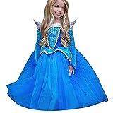 Tokkids - Prinzessin kostüm Kinder Weihnachten Verkleidung Karneval Party Halloween Fest (Blau, 120-height110cm/4Y)