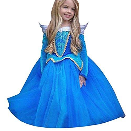 kostüm kinder Weihnachten Verkleidung Karneval Party Halloween Fest (Blau, 120-height110cm/4Y) (Dornröschen Blaues Kleid Kostüm)