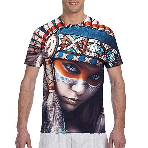 U are Friends Native American Girl Tattoo Design Herren Kurzarm T Sport T Shirt Tees Casual(3XL,Schwarz) -