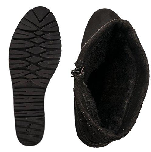 Elara Damen Schlupfstiefel | Bequeme Klassiche Stiefeletten | Flache Boots Schwarz Jersey