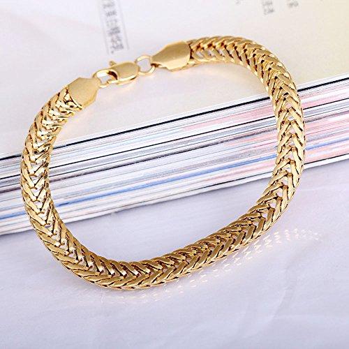 Broadroot 18K Gold überzogene Männer Chunky Schlangen Kette Hand Hohl Armbänder Solid Color (Gold Schlange-kette Armband)