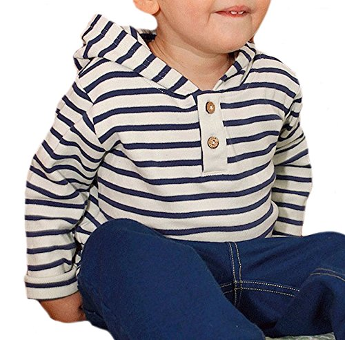 Baby Kinder Langarmshirt Kapuzenshirt 100% Bio-Baumwolle GOTS Kapuzenpullover T-shirt Gr.74/80 bis 128 (98/104, weiß - dunkelblau gestreift) (98/104, weiß - dunkelblau gestreift) (Bio-baumwoll-t-shirt Welt)