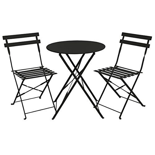 Metall-set Bar Stuhl (SVITA Bistro-Set 3-teilig Gartenset Garnitur Metall-Möbel Stuhl Tisch Kapp-Möbel Balko-Set Blau Weiß Schwarz Grau (Schwarz))