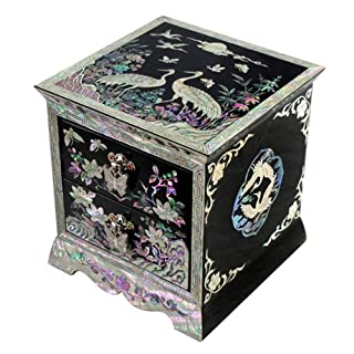 Mother of Pearl Asian Lacquer Women Wooden Jewellery Trinket Keepsake Treasure Gift Girls Jewel Ring Drawer Box Chest Case Organizer with Flower and Crane Design in Red Korean Mulberry Paper