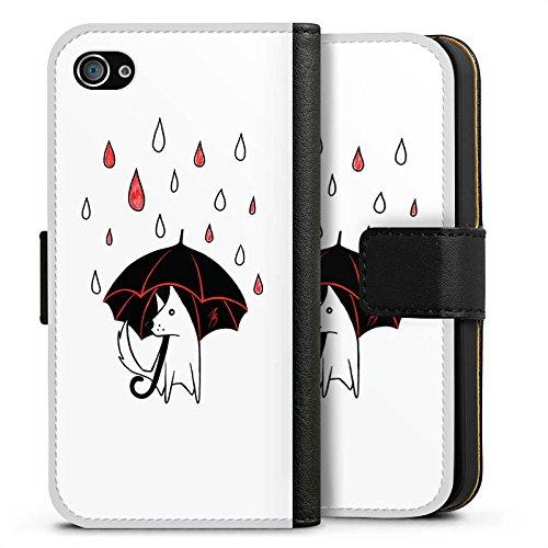 Apple iPhone X Silikon Hülle Case Schutzhülle Hund Comic Style Regen Sideflip Tasche schwarz
