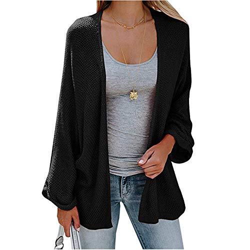 Strickjacke Damen,Innerternet Mode Frauen Strickmaterial Sweater Coat Freizeit Einfarbig Tasche Cardigan Mäntel Kurz Abschnitt Langarm Kimono Pullover