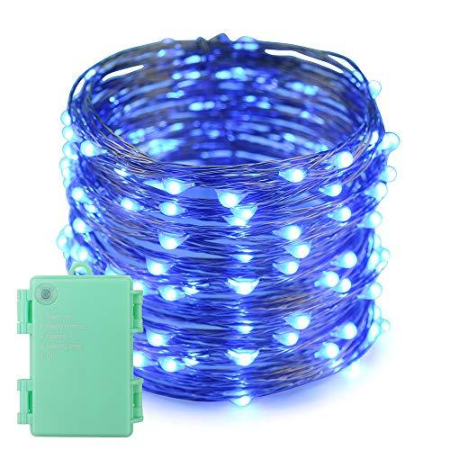 Erchen Batteriebetrieben LED Lichterkette, 66 FT 200 LED 20M Kupfer-Draht Lichterketten mit Timer für Innen Außen Weihnachten Party Garten terrasse (Blau) -