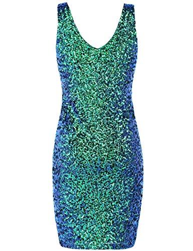 PrettyGuide Damen reizvoller tiefer V-Ausschnitt Pailletten Glitzer Bodycon Stretchy Minipartei-Kleid M Symphonie grün - 3
