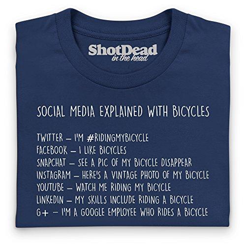Social Media Explained - Bicycles T-Shirt, Herren Dunkelblau