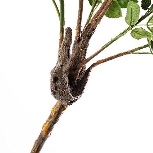 Deko Rosenkugelbaum mit 8 Blüten und 4 Knospen, rot-rosa, 140 cm – Künstliche Rosen / Künstlicher Baum – artplants