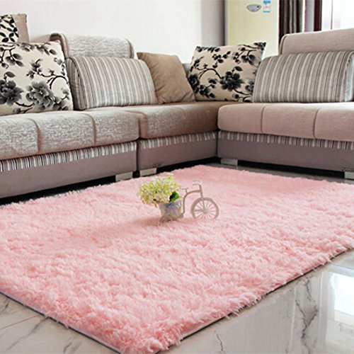 Antideslizante Salón Suave Alfombras Shaggy Floor Mat Área Alfombra 80 x 120 cm (Rosa)