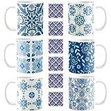 YaYa Cafe Diwali Gifts Attractive Stylish Antique Blue Pottery Indigo Ceramic Coffee Mug Set Of 6 With Coaster 330 Ml