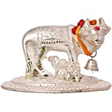 SHIVMART Metal Kamdhenu Cow and Calf Pooja Mandir Idol -Home Decor Statue (H-6 cm, Silver)