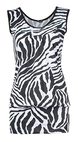 Fast Fashion Damen 2 teiliges Set Zebra Druck Ärmelloses Top Leggings Zebra Tank Kleid