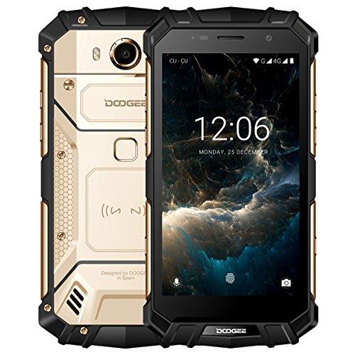 """DOOGEE S60 Smartphone Libre IP68 Impermeable Dual SIM Android 7.0 Movile, Pantalla de 5.2"""" FHD Helio P25 Octa Core 6GB+64GB Cámara Trasera 21MP Batería 5580mAh 12V2A Carga Rápida Huella Digital - Oro"""