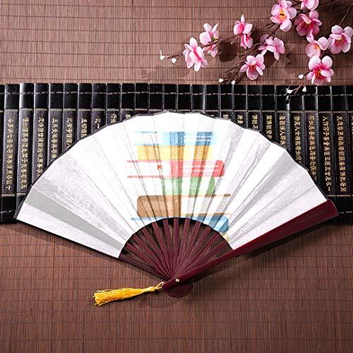 nd Fan Buch und Lupe auf dem Tisch mit Bambusrahmen Quaste Anhänger und Stofftasche Bambus Griff Fan japanischen Fan für Kinder tragbare Hand Fan ()