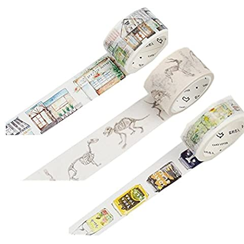 Florals Washi Paper Masking Tape Collection for Scrapbooking DIY Gift Notebook Decor Pack of 3