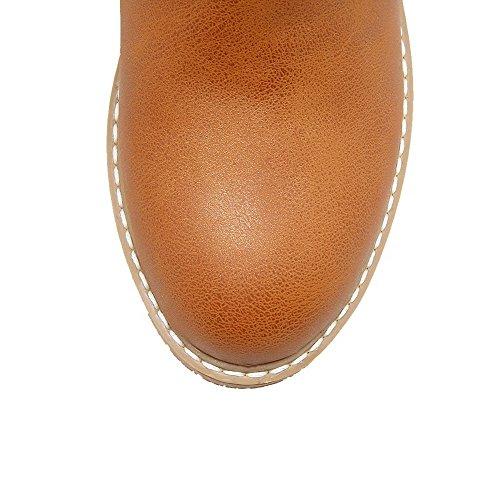 AgeeMi Shoes Femme Lacet Rond à Talon Bas Couleur Unie PU Cuir Haut Bas Bottes Brun