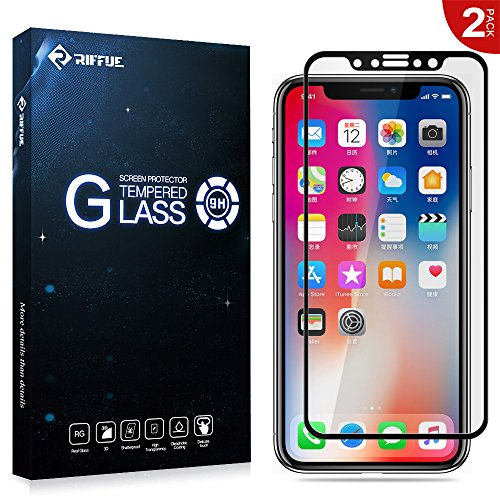 iPhone X Protector de Pantalla, RIFFUE® Apple iPhone 10 Cristal Vidrio Templado Glass Premium [9H Dureza] [3D Touch] [Alta Definicion] [Cobertura Completa]- Anti-Explosion / HD-display / Anti - agua y Anti-grasa / Anti-reflejo,[Alta Definición] 0.26mm Screen Protector Film para Apple iPhone X ( 2 Unidades ) - Negro