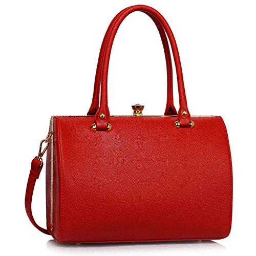 Metal Essener oben Handtasche Red 510 Damen Damen LeahWard® StructuRot Tragetaschen Rahmen Handtaschen nHF4XRW5q