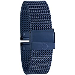 Eichmüller Elegant BANDOH Milanese Mesh Metal Watch Stainless Steel Bracelet with Safety Fastener Blue 20 mm
