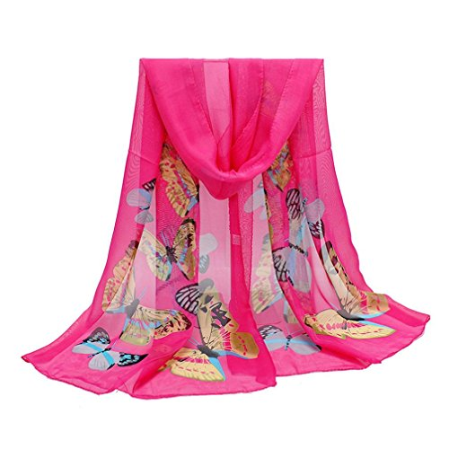 ADESHOP Mousseline Nouvelle Mode ÉCharpe Femmes Papillon Imprimer Neck ChâLe ÉCharpe Warm Wrap ÉTole Femmes LéGer Mince Doux Protection UV Foulards DifféRentes Couleurs (Taille libre, Rose vif)