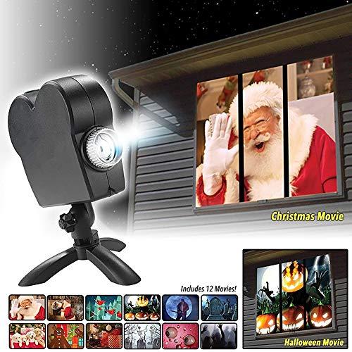 TBY Projektor Lichter, Fenster Projektor Outdoor Indoor Weihnachten Halloween Dekorationen 12 Filme Festival Projektion Licht