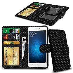 N4u Online® Carbon Fibre Clip On Series Pu Leather Wallet Book Case For Xiaomi Mi 1s