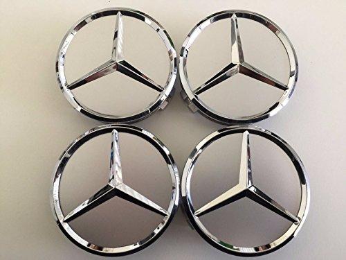 Mercedes-Felgendeckel mit erhöhter Mitte, AMG, Legierung, Silber, 4Stück