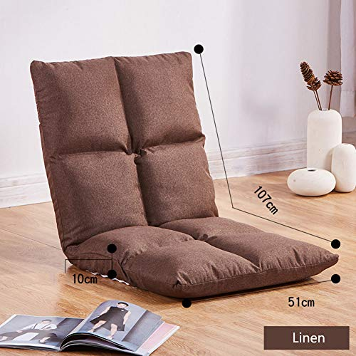 XIAOMEI 5 Positionen Klappbar Fußboden Stuhl Gaming-Sofa Liege Verstellbare Rückenlehne Sleeper Bett Couch Liege Leinenstoff Faul Tatami Liegefunktion Beinlose Hocker-x - Sofa Couch Sleeper