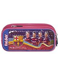 Trousse avec 2 poches (!!) officiellement certifiée Authentique de FC Barcelone, avec les images de l'équipe - Marchandise certifiée FC Barcelone