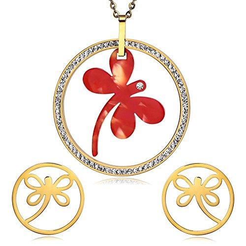 Epinki Damen Schmuck-Set Libelle Anhänger Cubic Zirkonia Gold Rot Tropfen Ohrhänger Halskette Valentinsgeschenk (Jasmin Ideen Kostüm)