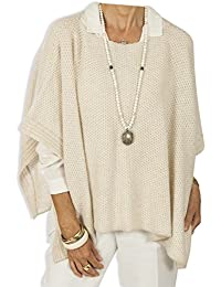 Boxy Cashmere Poncho - Natural by Catherine Robinson