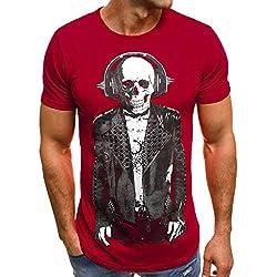 Cebbay Camiseta con Estampado de Calavera de Hombre Cómoda Personalidad y Ocio Manga Corta Ropa de Verano Camisas Polos Tops(Rojo, XL)