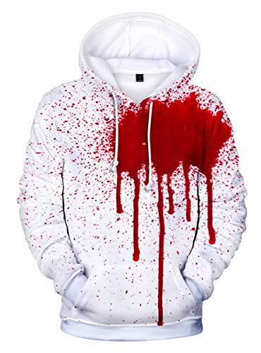 SIMYJOY Unisex Halloween Pullover 3D Druck Hoodie Komische Lustige Streiche Kürbis Geist Eule Kapuzenpulli Coole Oberteile Streetwear für Männer Jungen Damen Q1220 2XL