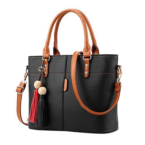 TianWlio Handtasche Damen Mode Quasten einfarbig Umhängetasche Schultertasche Messenger Bag Schwarz