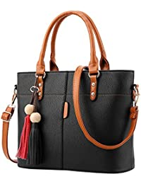 d27016a5f02f3 Handtasche Damen Mode Quasten einfarbig Umhängetasche Schultertasche  Messenger Bag Schwarz…