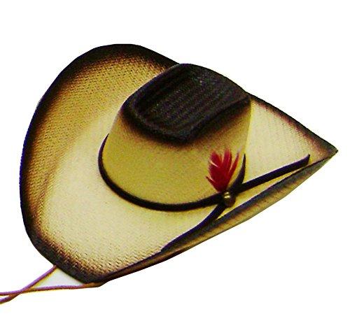 Modestone Straw Pet Cowboy-Hut Elastic String Feather Brown