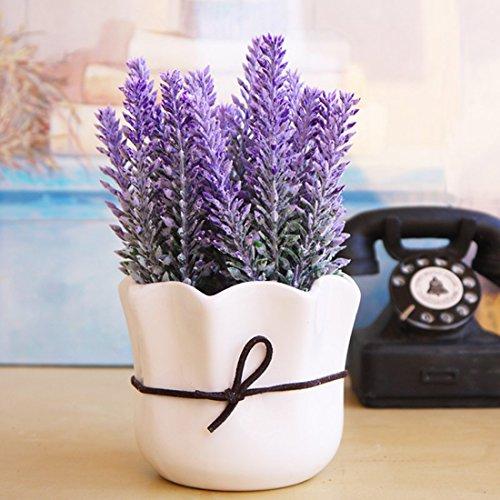 Garwarm Lila Lebensechtes Natürliches Modernes Design als Dekorative Künstliche Topfblume Pflanze mit Keramik Pflanztöpfe als Heim- und Büro-Deko-Lavendel