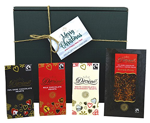 Divine Fairtrade Christmas Love Hamper - Milk, 70% Dark and White Strawberry Chocolate Hearts, with a Luxury Dark Chili Toffee Tablet - Includes Christmas Gift Box & Tags!
