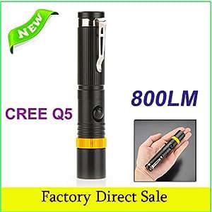 18650rechargeable lampe stylo tactique lampe de poche haute/faible/stroboscopique CREE Flashlight Lampe torche CREE Q5LED 800LM Focus réglable–-- couleur: blanc