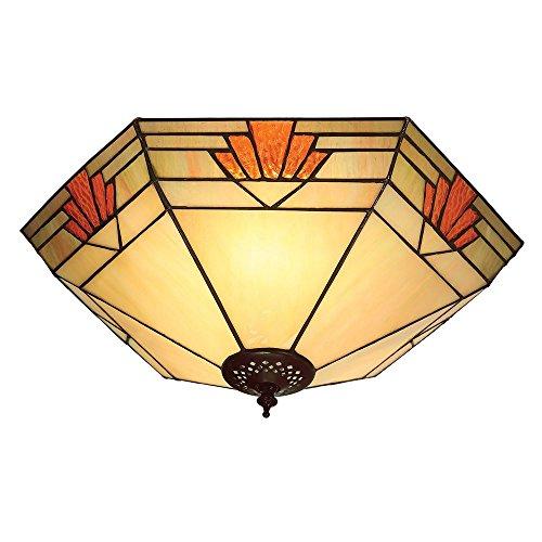 Preisvergleich Produktbild Nevada große Tiffany Art zwei helle flush Decken-Befestigung - Interiors 1900 64284