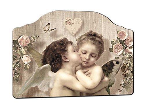 Lupia - Cuadro Cabezal de ángeles, 50x 70cm, Sobre Tabla Hecha Shabby, Beso