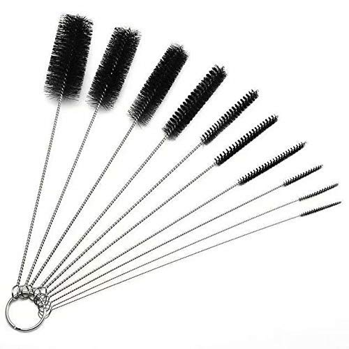 Bobopai Bottle Cleaning Brushes, Cleaning Brush, Cleaner for Narrow Neck Bottles Cups with Hook, Set of 10 (# Black)